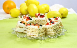 Prajitura usoara cu crema de lamaie si biscuiti/ Quick Lemon cake